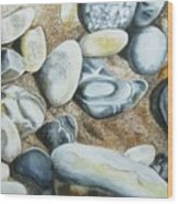 Rocks On Beach Wood Print