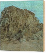 Rocks On The Beach Wood Print