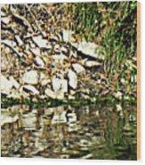 Rocks Reflecting Off Water Wood Print