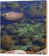 Rocks Ripples And Reflections Wood Print