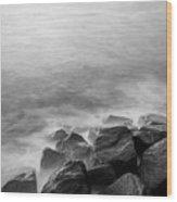Rocks To The Ocean Wood Print