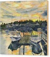 Rocktide Sunset Wood Print
