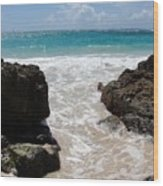 Rocky Beach In The Caribbean Wood Print