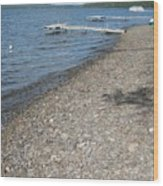 Rocky Beach On A Lake Wood Print