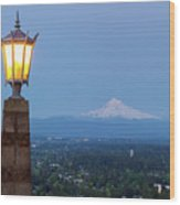 Rocky Butte Viewpoint With Mount Hood During Evening Blue Hour Wood Print