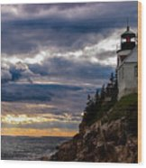 Rocky Cliffs Below Maine Lighthouse Wood Print