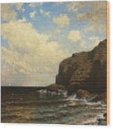 Rocky Coast With Breaking Wave Wood Print