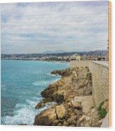 Rocky Coastline In Nice, France Wood Print