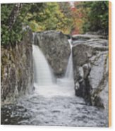 Rocky Falls In The Adirondack Mountains - New York Wood Print