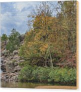 Rocky Falls In The Fall Wood Print