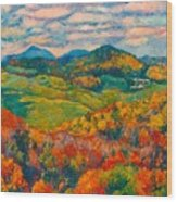 Rocky Knob In Fall Wood Print