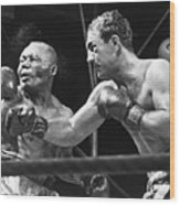 Rocky Marciano Landing A Punch Wood Print