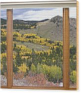 Rocky Mountain Autumn Picture Window View Wood Print