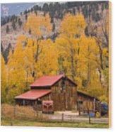 Rocky Mountain Autumn Ranch Landscape Wood Print