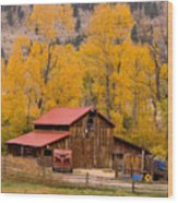 Rocky Mountain Barn Autumn View Wood Print