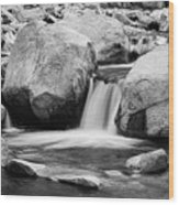 Rocky Mountain Canyon Waterfall In Black And White Wood Print
