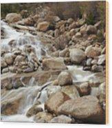 Rocky Mountain Cascade Wood Print