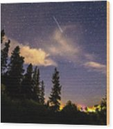 Rocky Mountain Falling Star Wood Print