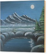 Rocky Mountain Fullmoon Wood Print
