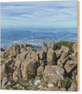 Rocky Mountain Summit Overlooking Beautiful Vally Wood Print