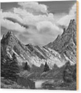Rocky Mountain Tranquil Escape In Black And White Wood Print
