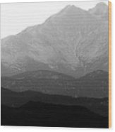 Rocky Mountain Twin Peaks Bw Wood Print