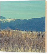 Rocky Mountain Twin Peaks Wood Fence View Wood Print
