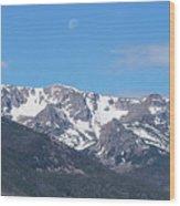 Rocky Mountain Waning Gibbous Moon Set Wood Print