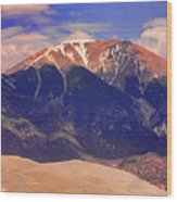 Rocky Mountains And Sand Dunes Wood Print