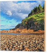 Rocky Oregon Beach Wood Print