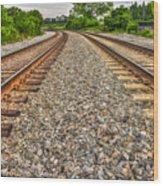 Rocky Railroad Rails Wood Print