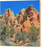 Rocky Range At Red Canyon Wood Print