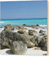 Rocky Shore--cancun Wood Print