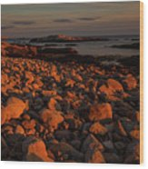Rocky Shoreline And Islands At Sunset Wood Print