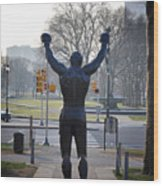 Rocky Statue From The Back Wood Print