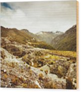 Rocky Valley Mountains Wood Print