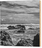 Rocky Waters In Bw Wood Print