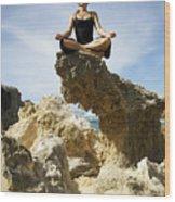Rocky Yoga Wood Print