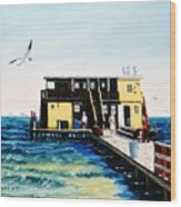Rod And Reel Fishing Pier Wood Print