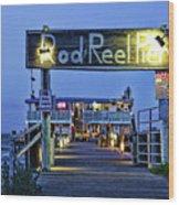 Rod And Reel Pier Wood Print