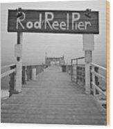 Rod And Reel Pier In Fog In Infrared 53 Wood Print