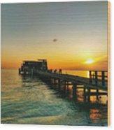 Rod And Reel Pier Sunrise 2 Wood Print