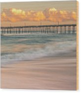 Rodanthe Fishing Pier Sunset On The Outer Banks In Carolina Panorama Wood Print