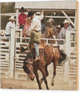 Rodeo Cowboy Riding A Wild Horse Wood Print
