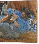 Rodeo Houston --steer Wrestling Wood Print