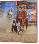 Rodeo Rider Down Wood Print