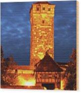 Rodertor At Twilight In Rothenburg Wood Print