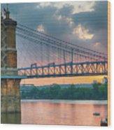 Roebling Suspension Bridge - Cincinnati, Ohio Wood Print
