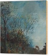 Roedeer In The Morning Wood Print