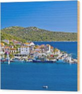 Rogoznica Harbor And Waterfront View Wood Print